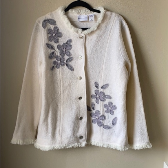 Alfred Dunner Sweaters - Alfred Dunner Boiled wool jacket winter white sz M